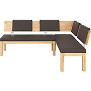 ECKBANK In Holz, Textil Buchefarben, Dunkelbraun   Dunkelbraun/Buchefarben,  KONVENTIONELL, Holz