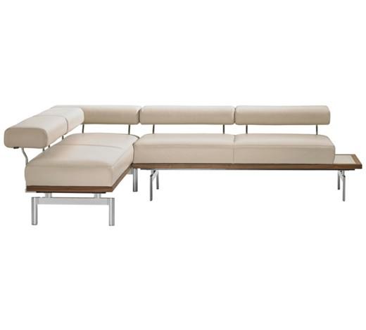 eckbank echtleder nussbaum grau nussbaumfarben online. Black Bedroom Furniture Sets. Home Design Ideas