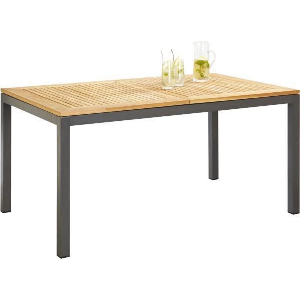 Gartentisch Aus Holz, Metall Teakholz In Anthrazit, Naturfarben