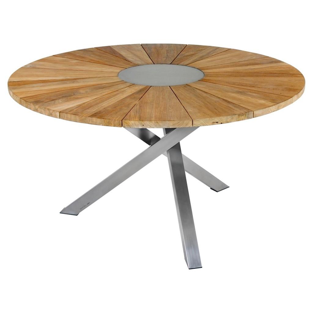 Gartentisch Aus Holz, Metall Teakholz In Edelstahlfarben, Teakfarben