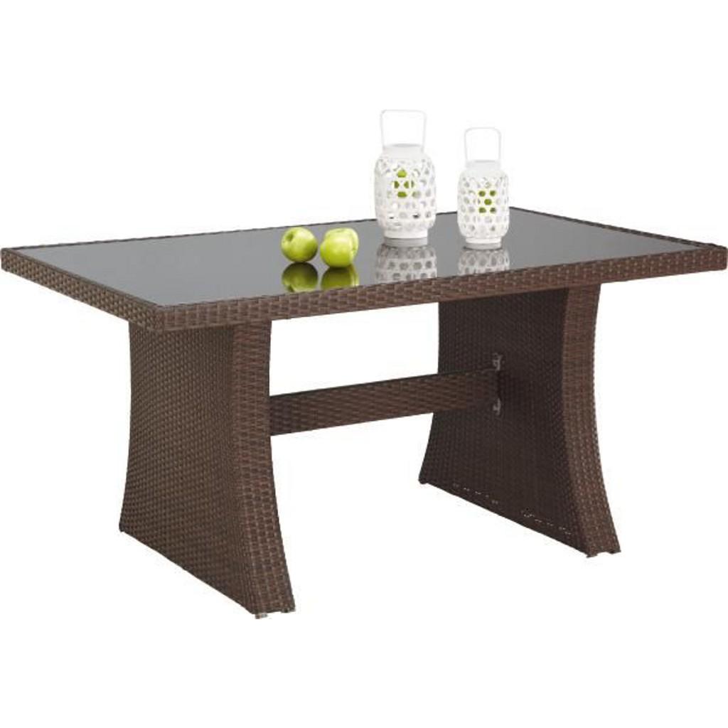 Gartentisch Aus Glas, Kunststoff, Metall In Braun, Schwarz