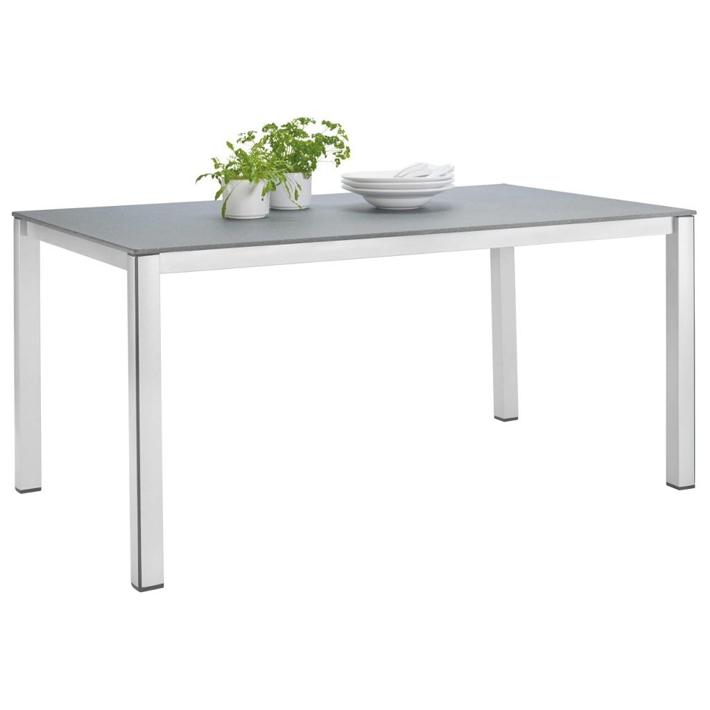 Gartentisch Aus Metall, Stein In Grau, Silberfarben