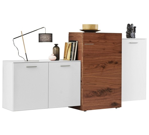 highboard nussbaum furniert lackiert nussbaumfarben wei. Black Bedroom Furniture Sets. Home Design Ideas