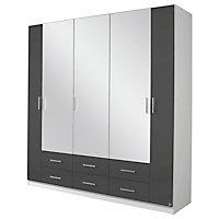 Kleiderschrank weiß modern  KLEIDERSCHRANK 4 -türig Grau, Weiß online kaufen ➤ XXXLShop
