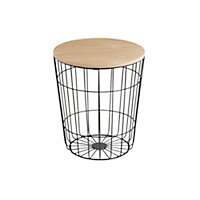 KLUB STOLIĆ - crna/natur boje, Design, drvni materijal/metal (34/39cm) - TI`ME