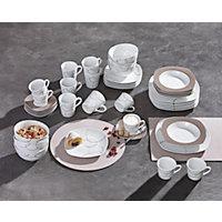 KOMPLETT SERVIS - vit/brun, keramik - RITZENHOFF BREKER