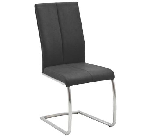 schwingstuhl lederlook anthrazit edelstahlfarben online. Black Bedroom Furniture Sets. Home Design Ideas