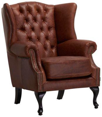 Sessel In Braun Holz, Holzwerkstoff, Leder