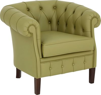 Sessel In Grün, Nussbaumfarben Holz, Leder