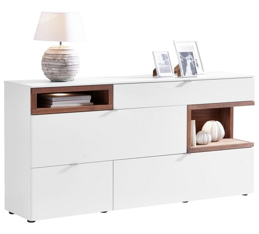 sideboard nussbaum furniert massiv ge lt lackiert. Black Bedroom Furniture Sets. Home Design Ideas