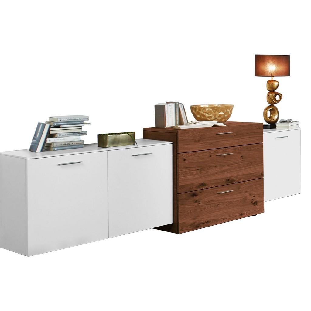 Sideboard In Furniert Kernnussbaum Nussbaumfarben, Weiß