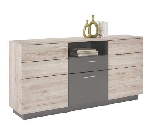 sideboard matt melamin eichefarben grau online kaufen. Black Bedroom Furniture Sets. Home Design Ideas