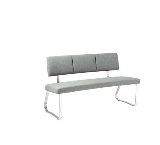 sitzbank lederlook edelstahlfarben grau online kaufen. Black Bedroom Furniture Sets. Home Design Ideas
