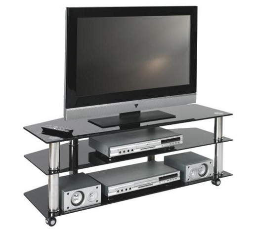 tv rack glas metall chromfarben schwarz online kaufen xxxlshop. Black Bedroom Furniture Sets. Home Design Ideas