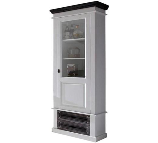 vitrine fichte teilmassiv grau wei weigrau romantik landhaus glas - Wohnzimmer Vitrine Grau