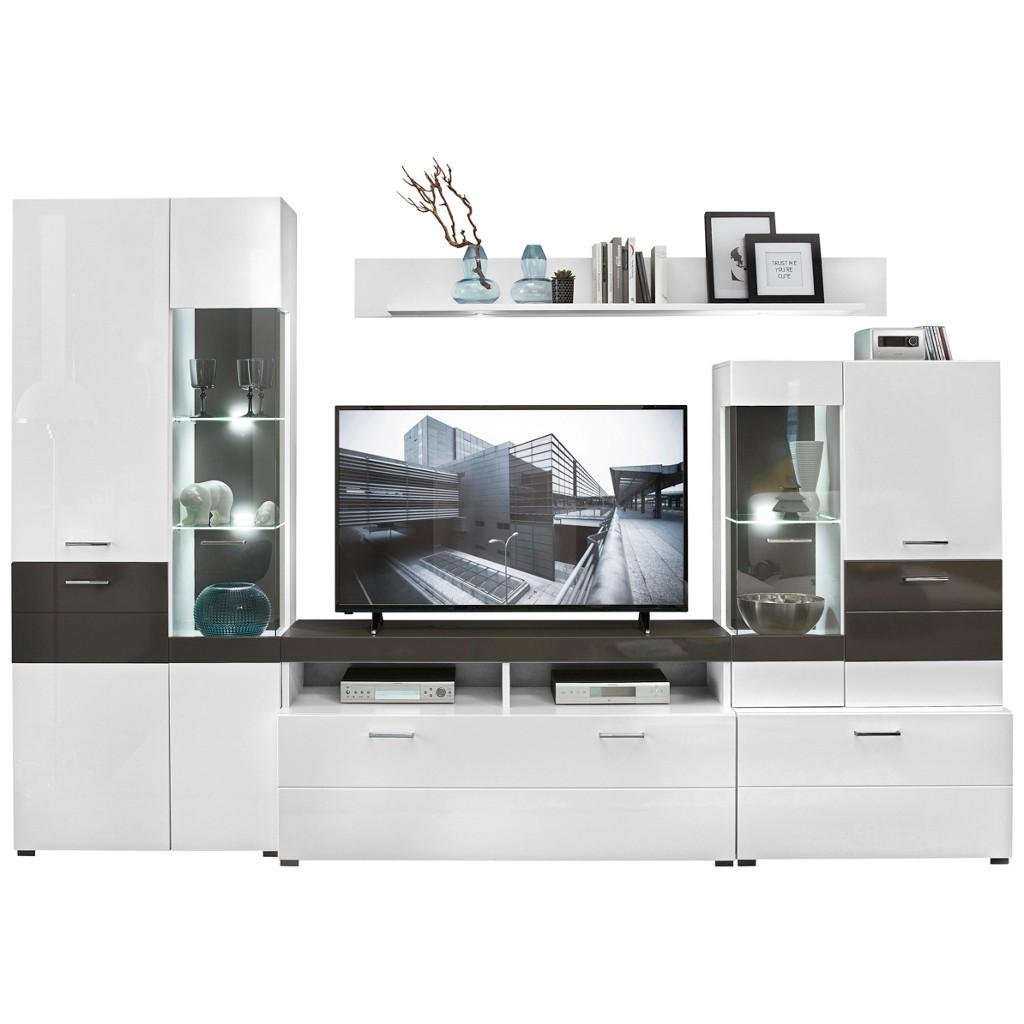 Wohnwand In Grau, Weiß
