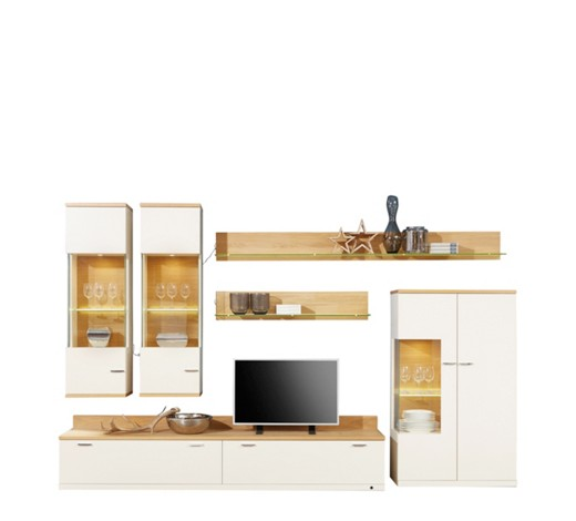 wohnwand eiche furniert creme eichefarben online kaufen xxxlshop. Black Bedroom Furniture Sets. Home Design Ideas