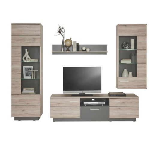 wohnwand eichefarben grau online kaufen xxxlshop. Black Bedroom Furniture Sets. Home Design Ideas