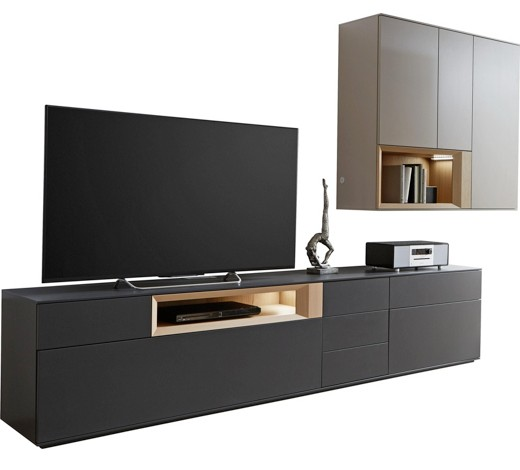 wohnwand wildeiche furniert anthrazit eichefarben grau. Black Bedroom Furniture Sets. Home Design Ideas