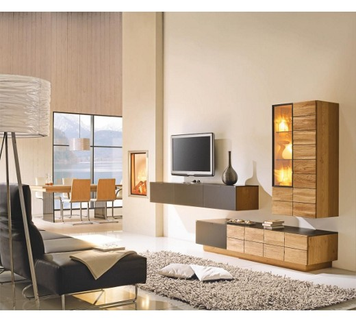 wohnwand wildeiche massiv mehrschichtige massivholzplatte tischlerplatte eichefarben online. Black Bedroom Furniture Sets. Home Design Ideas