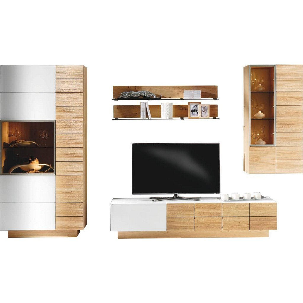 Wohnzimmermöbel Angebote: Wohnwand Baltimore Weiß Preisvergleich • Die Besten