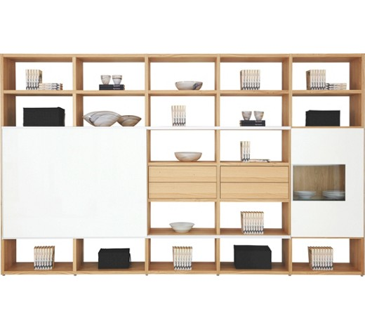 wohnwand eiche furniert naturfarben wei online kaufen xxxlshop. Black Bedroom Furniture Sets. Home Design Ideas