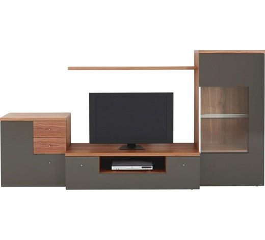 wohnwand kernnussbaum furniert grau nussbaumfarben online kaufen xxxlshop. Black Bedroom Furniture Sets. Home Design Ideas