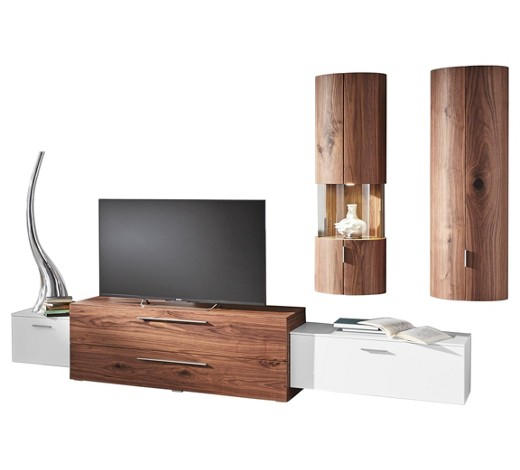 wohnwand kernnussbaum furniert nussbaumfarben wei online. Black Bedroom Furniture Sets. Home Design Ideas