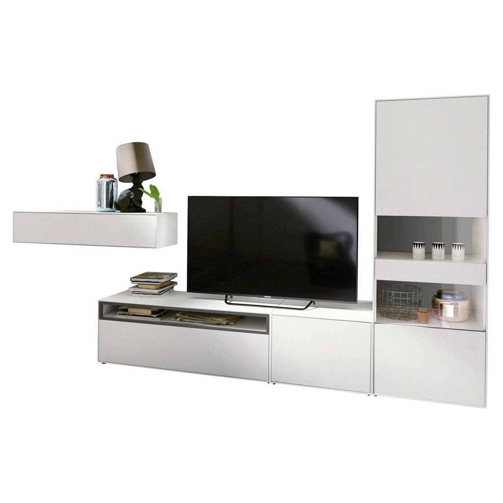 wohnwand baltimore wei preisvergleich die besten. Black Bedroom Furniture Sets. Home Design Ideas